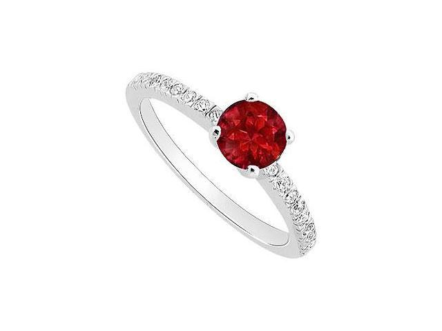 GF Bangkok Ruby and Cubic Zirconia Engagement Ring .925 Sterling Silver 0.50 CT TGW