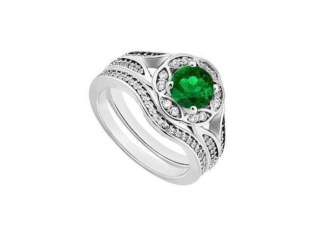 Emerald  Diamond Engagement Ring with Wedding Band Sets 14K White Gold  0.90 CT TGW