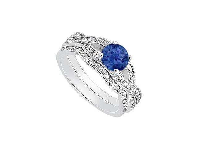 14K White Gold Natural Blue Sapphire Engagement Ring with Diamond Wedding Bands 1.10 Carat TGW