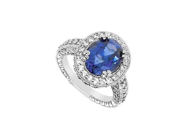 Diffuse Sapphire and Cubic Zirconia Ring 10K White Gold 4.50 Carat Total Gem Weight