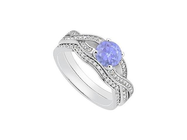 Diamond Tanzanite Engagement Ring in 14K White Gold with Diamond Wedding Rings of 1.10 Carat TGW