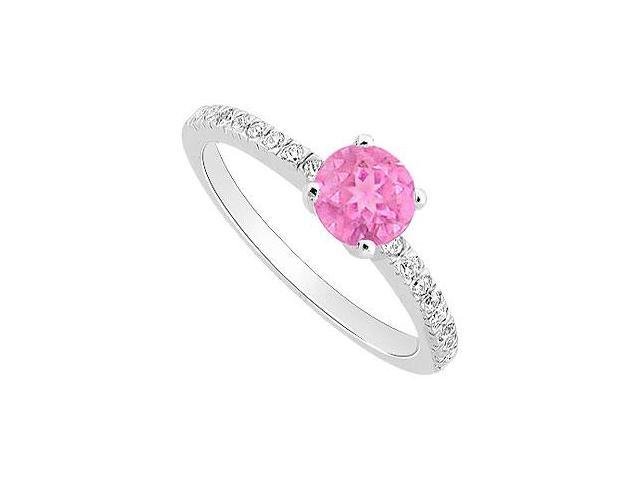 Created Pink Sapphire and Cubic Zirconia Engagement Ring .925 Sterling Silver 0.50 CT TGW