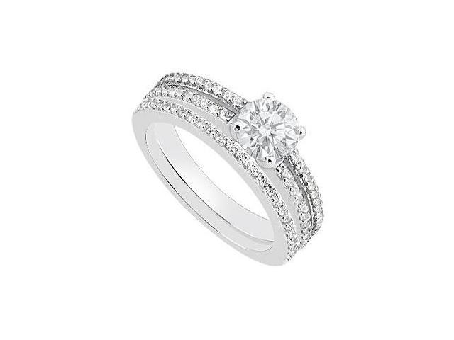Diamond Engagement Ring in 14K White Gold with Wedding Band Sets 0.90 Carat Diamonds