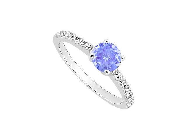 Created Tanzanite and Cubic Zirconia Engagement Ring .925 Sterling Silver 0.50 CT TGW