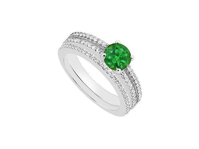 Green Emerald and Diamond Engagement Ring with Wedding Rings in 14K White Gold 1.15 Carat TGW