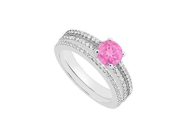 Pink Sapphire Engagement Ring in 14K White Gold with Diamond Wedding Rings of 1.15 Carat TGW