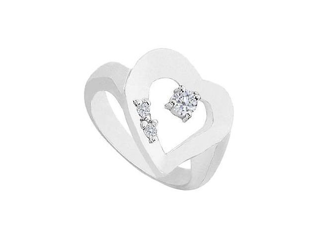Heart Cubic Zirconia Ring in 14K White Gold Total Gem Weight of 0.33 Carat