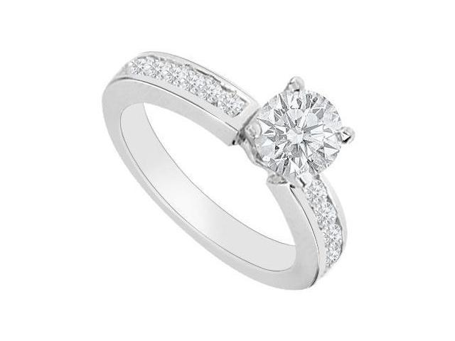 Triple AAA Quality Cubic Zirconia of 1 Carat Engagement Ring in 14K White Gold Finish