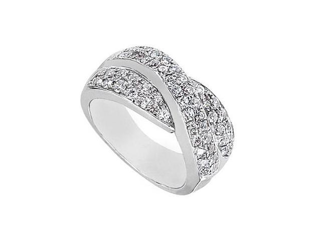14K White Gold CZ Crossover Ring with 1.50 Carat Total gem Weight