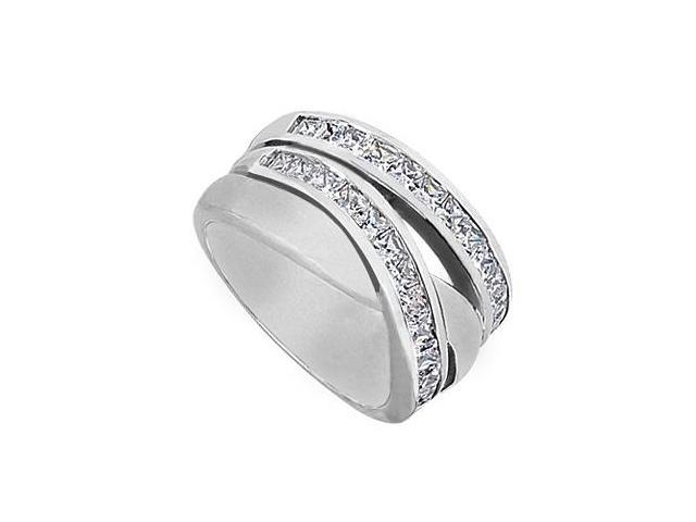 Princess cut Cubic Zirconia Crossover Ring in 14K White Gold 1.50 Carat Total Gem Weight