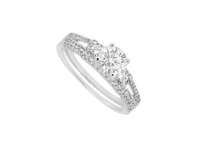 Diamond Princess Cut Engagement Ring with Wedding Band Set in 14K White Gold 1.05 Carat Diamonds