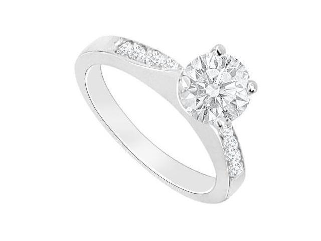 14K White Gold Triple AAA Quality Cubic Zirconia Engagement Ring of 0.75 Carat Total Gem Weight