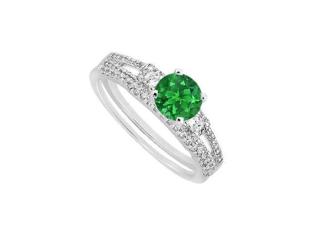 14K White Gold Emerald and Diamond Princess Cut Engagement Ring with Wedding Band Set 1.30 Carat