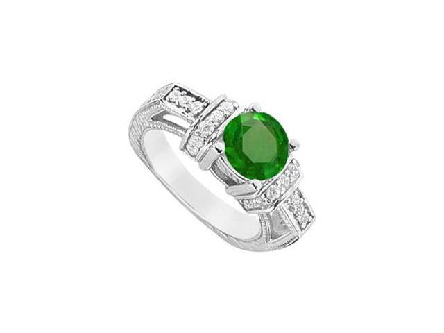 Frosted Emerald and Cubic Zirconia Engagement Ring 925 Sterling Silver 2.50 CT TGW