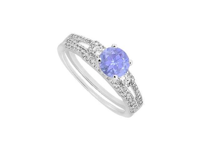 Tanzanite Engagement Ring Princess Cut Diamond with Wedding Band Set in 14K White Gold 1.30 CT