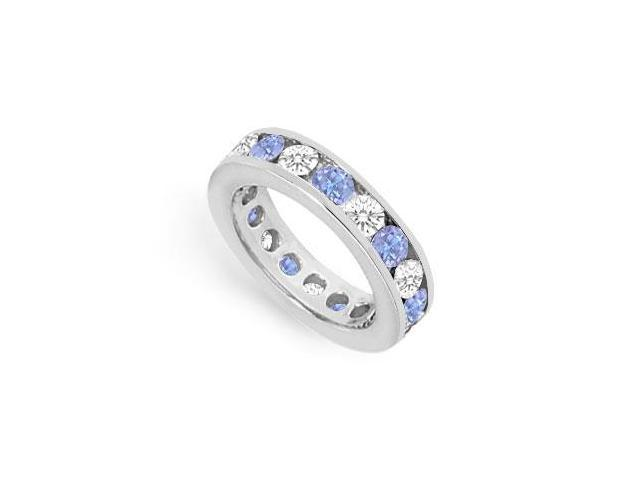 CZ Eternity Bands with Tanzanite Created 3 Carat Channel Set in 925 Sterling Silver