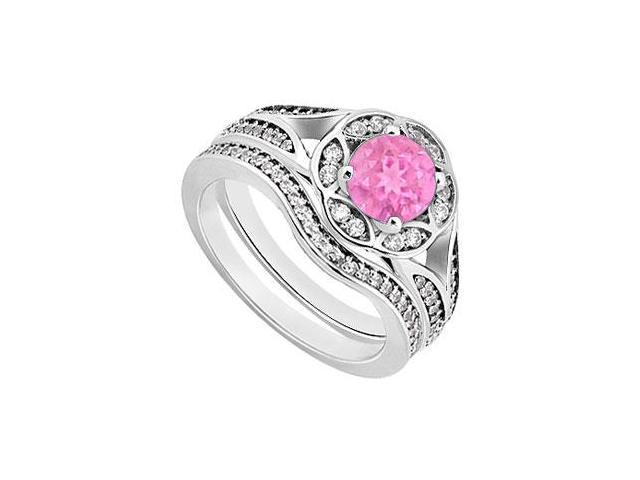 Pink Sapphire  Diamond Engagement Ring with Wedding Band Sets 14K White Gold  0.90 CT TGW