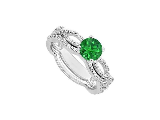 Diamond and Emerald Engagement Ring with Wedding Band Sets in 14K White Gold 1.30 Carat TGW