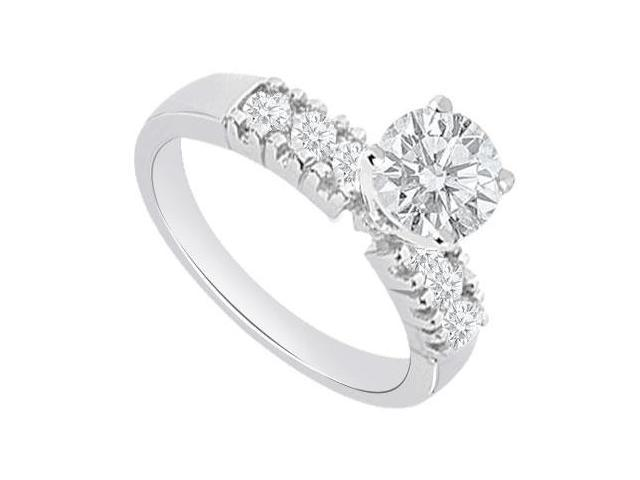 One Carat Engagement Ring in 14K White Gold Triple AAA Quality CZ