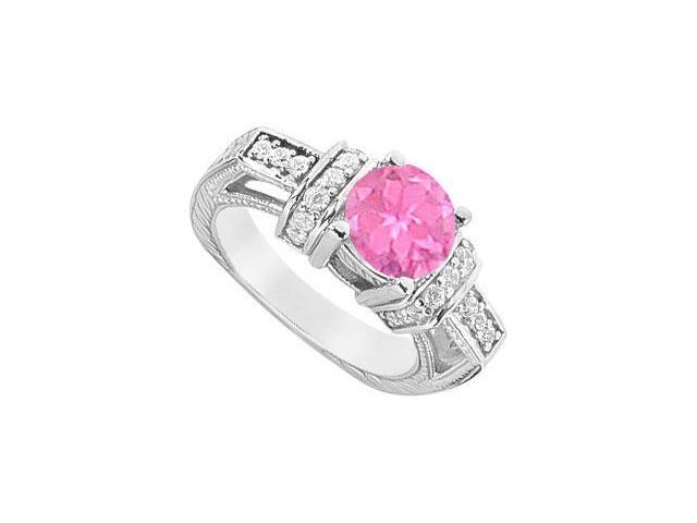 Created Pink Sapphire and Cubic Zirconia Engagement Ring .925 Sterling Silver 2.50 CT TGW