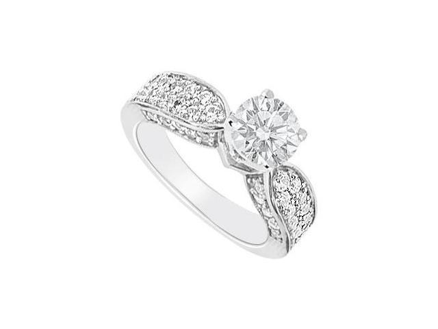 Engagement Ring of Triple AAA Quality CZ in 14K White Gold 1.50 Carat Total Gem Weight