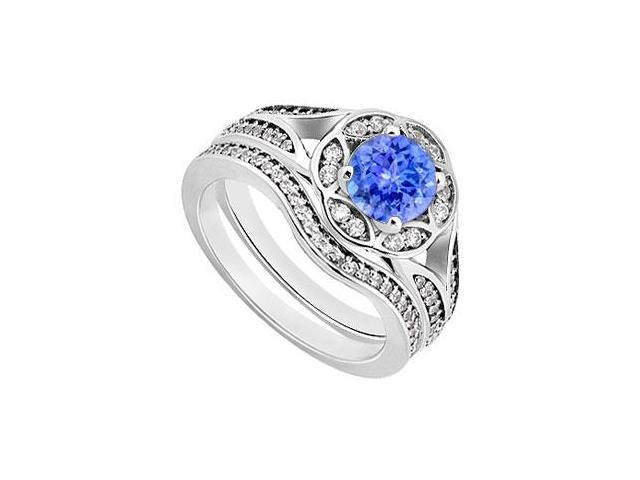 Tanzanite  Diamond Engagement Ring with Wedding Band Sets 14K White Gold  0.90 CT TGW