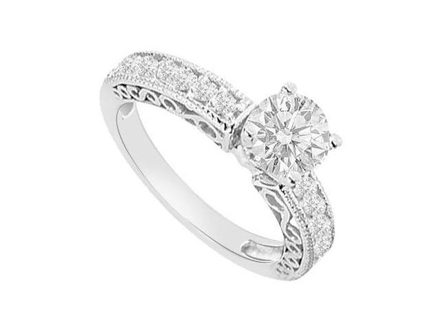 14K White Gold Triple AAA Quality CZ of 1 Carat Engagement Ring