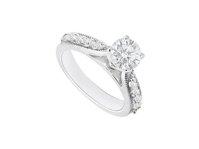 1 Carat Engagement Ring of CZ in 14K White Gold Milgrain Edges