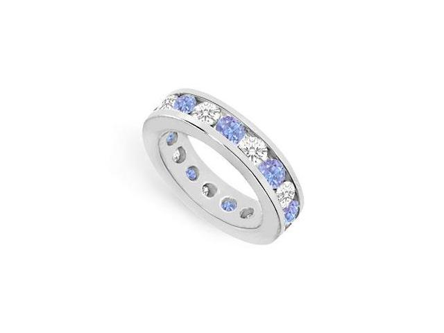 7 Carat Eternity Bands CZ and Tanzanite Created in 925 Sterling Silver Channel Set