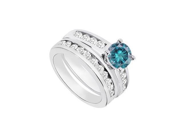 Blue  White Diamond Engagement Ring with Wedding Band Sets 14K White Gold  1.15 CT TDW