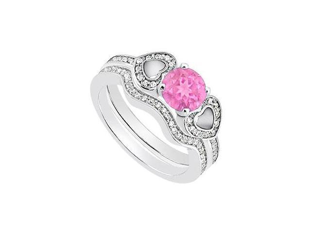 Pink Sapphire Engagement Ring with Diamond Heart in 14K White Gold Wedding Rings 1.10 Carat TGW