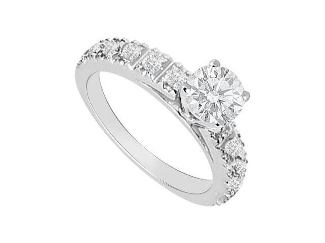 14K White Gold 1 Carat Engagement Ring of AAA Quality CZ in Prong Setting