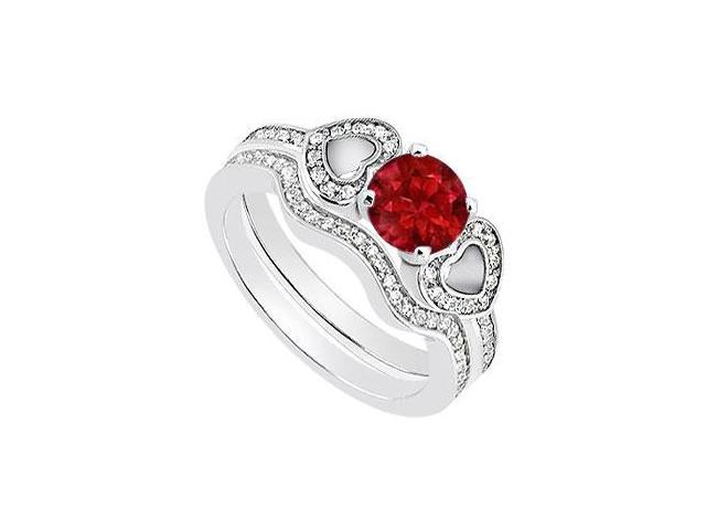 14K White Gold Heart Engagement Ring of Natural Ruby with Diamond Band Sets of 1.10 Carat TGW