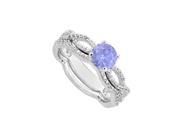 Diamond and tanzanite Engagement Ring in 14K White Gold with Wedding Band Set 1.30 Carat TGW