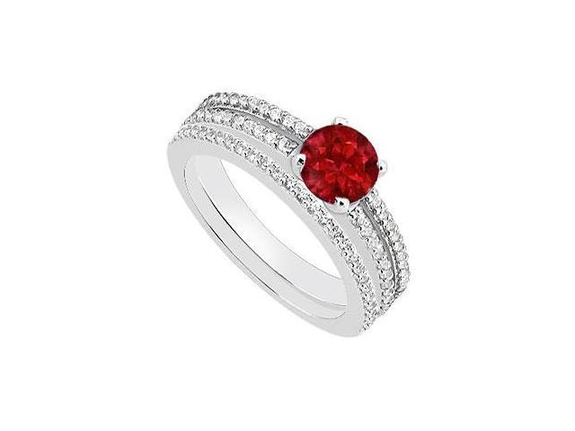 14K White Gold Natural Ruby Engagement Ring with Diamond Wedding Band Sets of 1.15 Carat TGW
