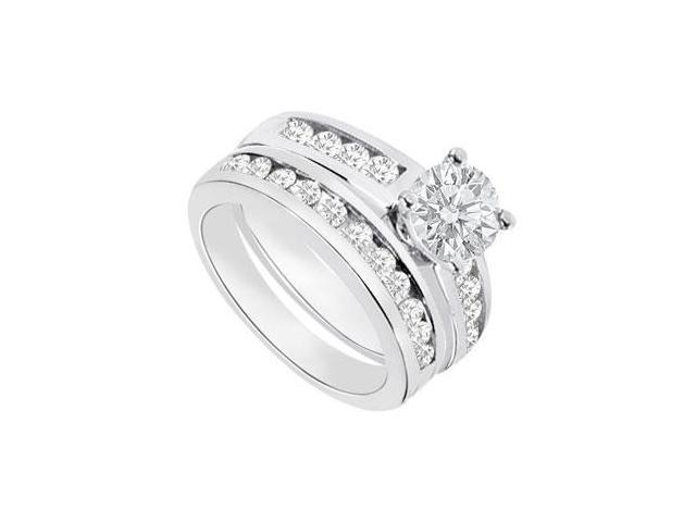 Diamond Engagement Ring with Wedding Band Sets 14K White Gold  1.15 CT TDW