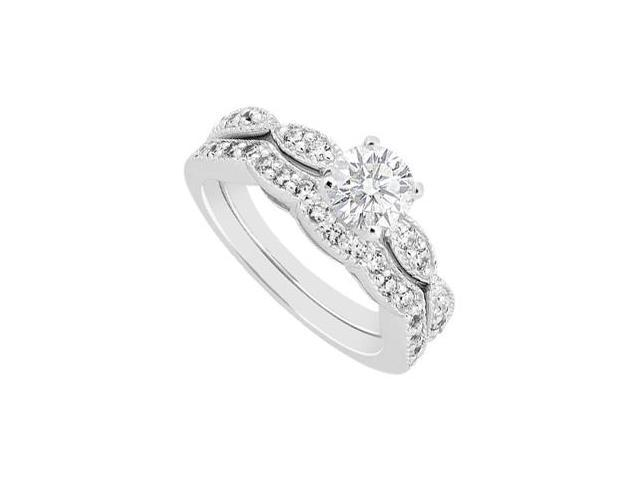 1 Carat Diamond Engagement Ring and Wedding Band Sets in 14K White Gold