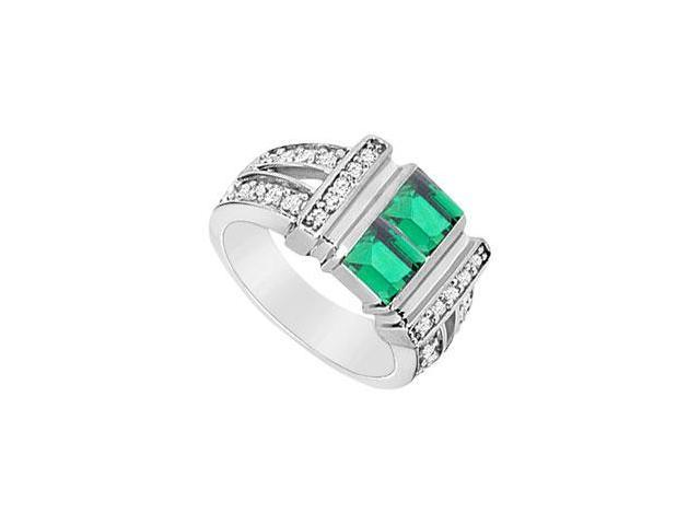 Frosted Emerald and Cubic Zirconia Ring 10K White Gold 1.25 Carat Total Gem Weight