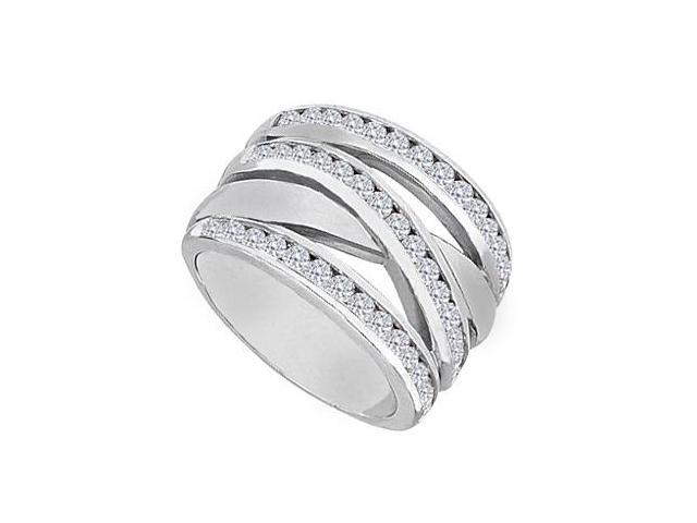 14K White Gold Channel set Cubic Zirconia Crossover Design Ring with 1.25 Carat Total Gem Weight