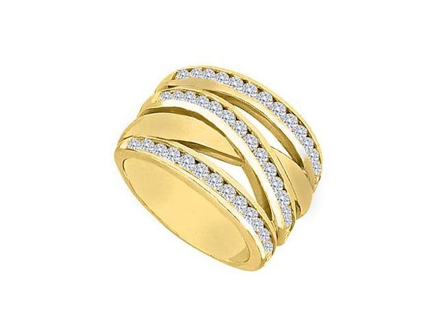 14K Yellow Gold Channel set CZ Crossover Design Ring of 1.25 Carat Total Gem Weight