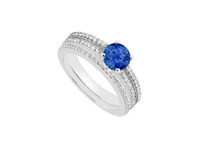 Diamond and Blue Sapphire Engagement Ring with Wedding Band Set in 14K White Gold 1.15 Carat TGW