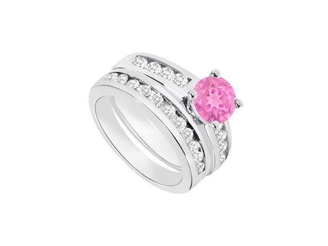 Pink Sapphire  Diamond Engagement Ring with Wedding Band Sets 14K White Gold  1.15 CT TGW