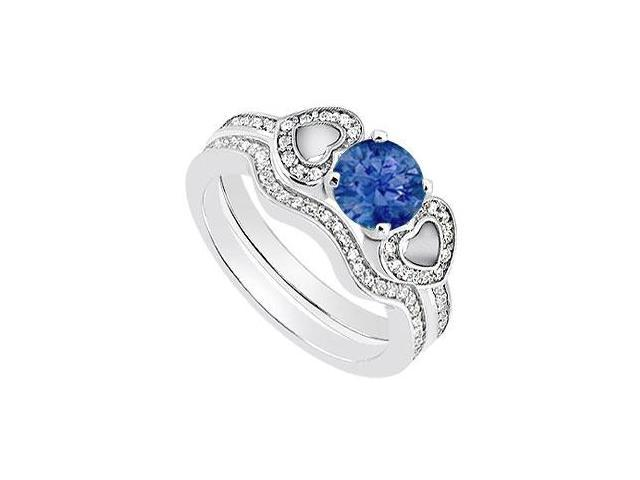 Sapphire and Diamond Heart Engagement Ring with Wedding Ring in 14K White Gold of 1.10 Carat TGW