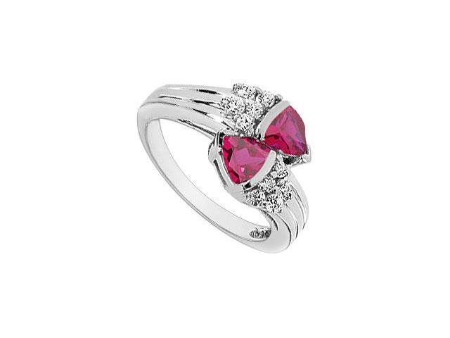 GF Bangkok Ruby and Cubic Zirconia Ring 10K White Gold  1.00 Carat Total Gem Weight