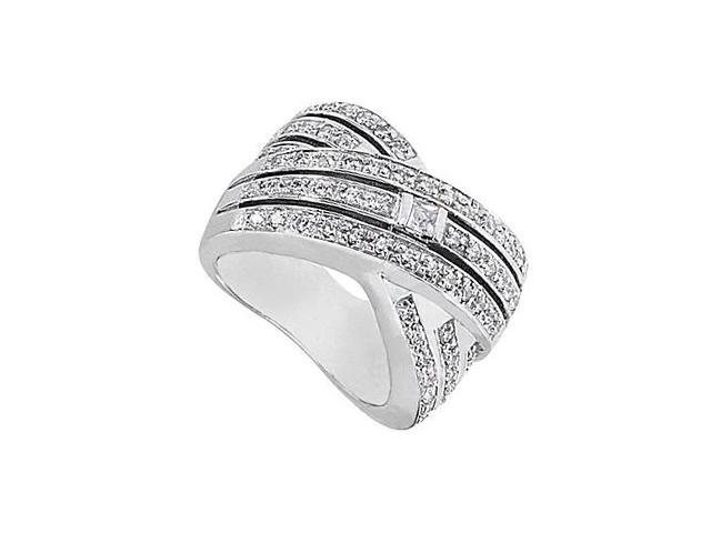 CZ Princess Cut and Round Crossover Fashion Ring in 14K White Gold 1.25 Carat Total Gem Weight