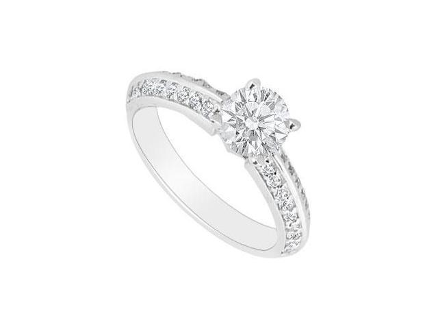 1 Carat Engagement Ring in Polished 14K White Gold Triple AAA Quality Cubic Zirconia