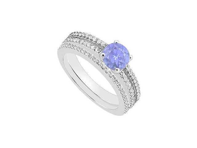Diamond and Tanzanite Engagement Ring with Wedding Band Sets in 14K White Gold 1.15 Carat TGW