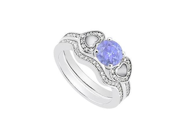 14K White Gold Tanzanite and Diamond Heart Engagement Ring with Wedding Ring Sets 1.10 Carat TGW
