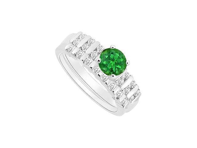 Emerald and Diamond Engagement Ring with Wedding Band Set  14K White Gold - 0.65 CT TGW