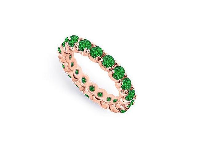 Two Carat Created Green Emerald Eternity Band in 14K Rose Gold Vermeil